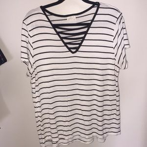 Stripped V- Neck T-Shirt